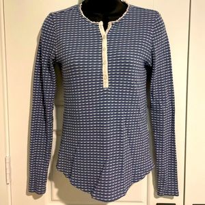 Lucky Brand Blue & Cream Thermal Button Down Top S